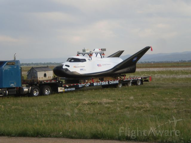— — - Dream Chaser Space Shuttle in Colorado loading up after the Captive flight test