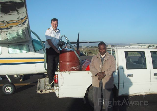 Cessna Centurion (ZS-AVB) - Refuelling at Addis Ababa on the way to Germany. Bring your own pump.