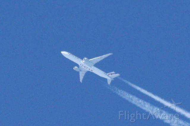 BOEING 777-300ER (A7-BAN) - Flying overhead en route to JFK