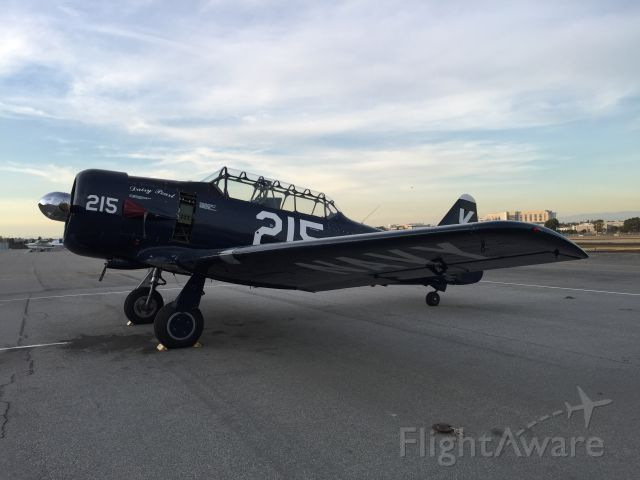 N7973C — - A beautiful North American SNJ-5C Texan warbird from 1943 in immaculate condition on the ramp at Zamperini Field - Torrance Municipal Airport