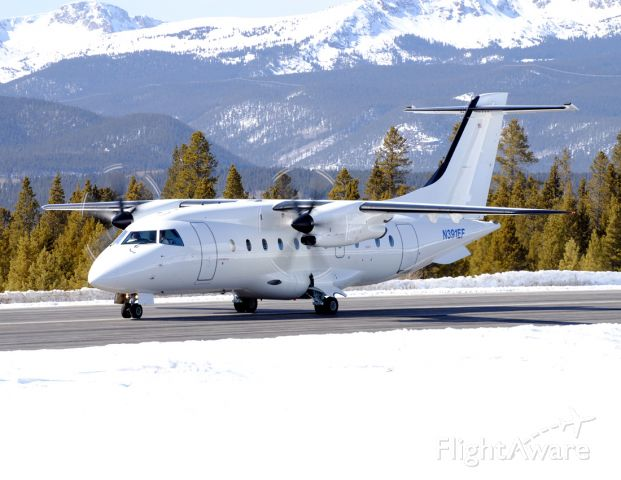 Fairchild Dornier 328 (N391EF) - This might be the largest corporate type aircraft to be seen in Leadville.  Too bad more airlines in the United States dont operate it...it would be proof that commercial service could one day return to KLXV!