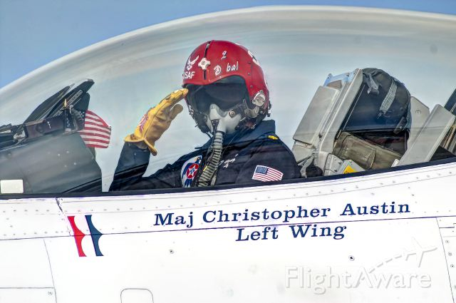 Lockheed F-16 Fighting Falcon — - Maj. Christopher Austin of the USAF Thunderbirds salutes as he taxis back to the ramp after a successful aerial demonstration at Tyndall AFB, Florida.