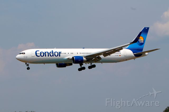 D-ABUE — - I caught Condor D-ABUE, a Boeing 767 on only Condor's second flight from Frankfurt Germany to BWI.  This was taken July 5, 2012 as the aircraft was about to land on runway 33L about 1430hrs.  A great place to spot from is the Thomas Dixon Observation area on Dorsey Road.