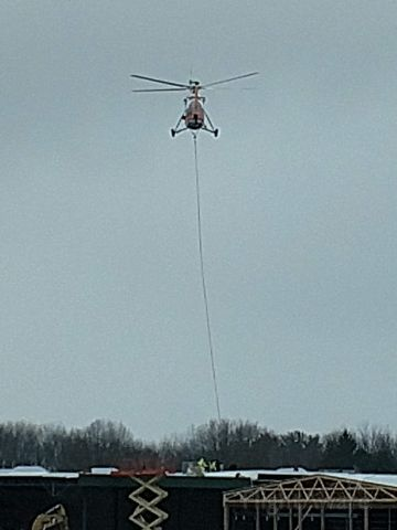 Sikorsky S-58T (N4247V) - Assisting in the construction of a local home improvement store in Terre Haute, IN on 16JAN2019