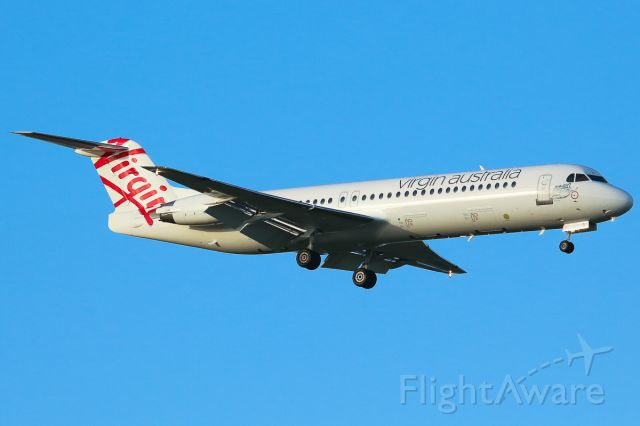 Fokker 100 (VH-FSQ) - First time in Melbourne wearing the new Virgin Australia livery.