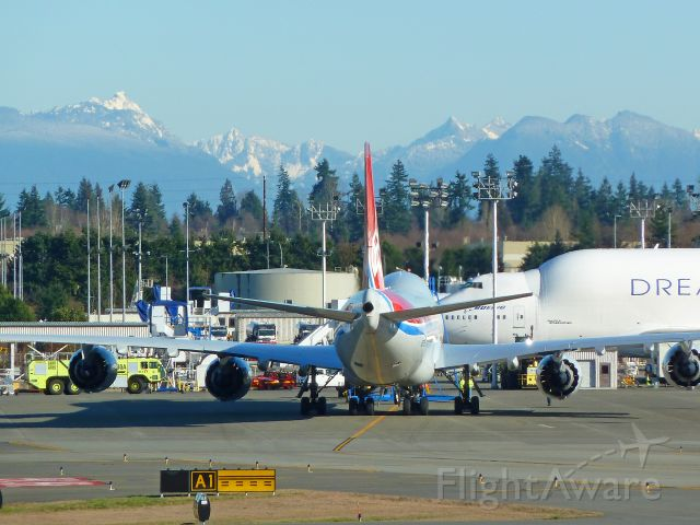 N5573S — - 2-1-2011 Cargolux (testing) Boeing 747-8F N5573S parked on Boeing Ramp after landing at Paine Field, Everett, Washington        Photo by Bruce McKinnon