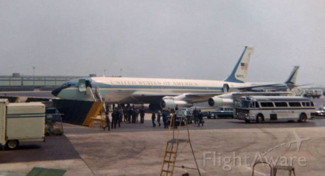 Boeing 707-100 (58-6970) - There are many photos of this aircraft already in the FA gallery because this former Air Force One presidential jet is now on display in the Air Park at the Museum of Flight in Washington state, but the only picture in the gallery showing this VC-137B (special variant of a Boeing 707) when it was in actual use as SAM 970 is this old Kodak 620 film snap I took at JFK in the later 1960s.  Although this aircraft was the first actual jet to be used as the POTUSs Air Force One, by the time I snapped it here at Kennedy it had been replaced by SAM 26000.  When I clicked it; however, it was still being used for official government trips and it was designated SAM (Special Air Mission) 970.  I got another photo of it over 40 years later when I visited the Museum of Flight in 2009 and discovered it there on display in the Air Park.