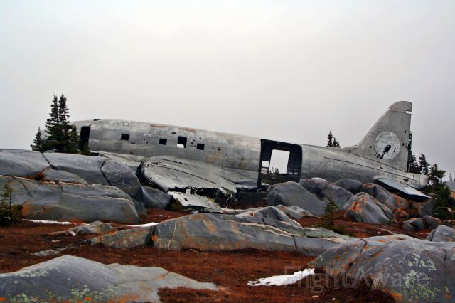 """CURTISS Commando (C-GYHT) - """"Miss Piggy"""" crashed just short of the runway"""