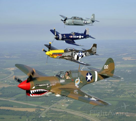 — — - P40,P51,F4U and TBM at the Geneseo,NY Airshow