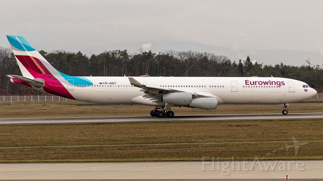 Airbus A340-300 (D-AIGY) - First A340 for Eurowings. Previously operated by LH.