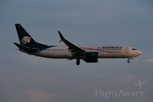Boeing 737-800 (XA-AMU) - AeroMexico Boeing 737-852 arrives during the fading light of golden hour to Bush.  Taken from Lee Road on 21 July 2021