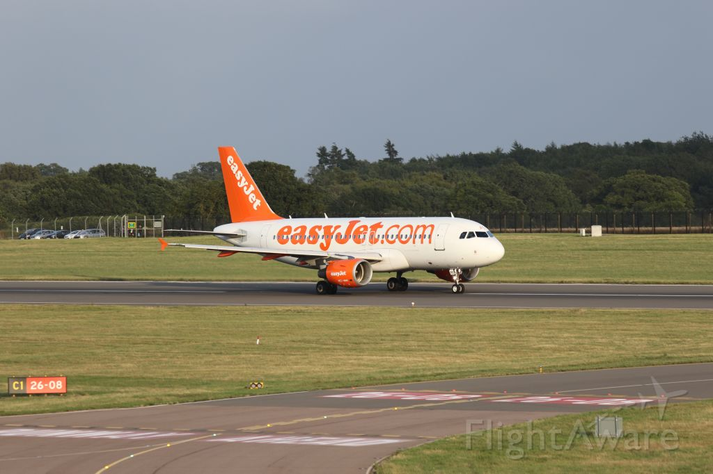 Airbus A319 (G-EZAG) - Early evening departure, photographed from top of multi-storey car park