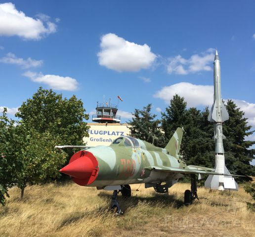 — — - Grossenhain airfield, the oldest functioning airfield in Germany, dating back to 1911. Picture of a MIG 21 SPS of the DDR airforce.
