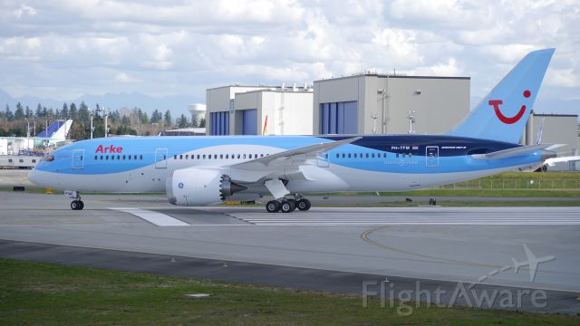 Boeing 787-8 (PH-TFM) - BOE324 taxis from Rwy 34L on completion of its B1 flight on 3/12/15. (ln 281 / cn 36429).