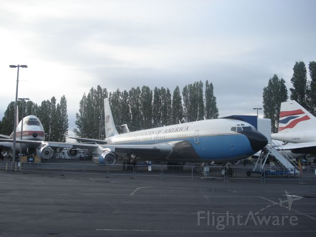 — — - Air Force one 707 at Seattle's museum of flight. The 747 on the back in the first 747 ever built. The BA tail belongs to the Concorde.