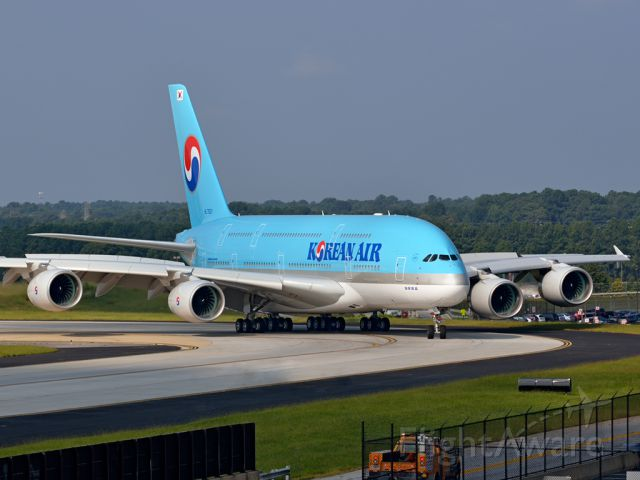 HL7621 — - This Korean Air A380-800 was the first A380 ever to land at KATL. Here it's taxing to the gate after landing.