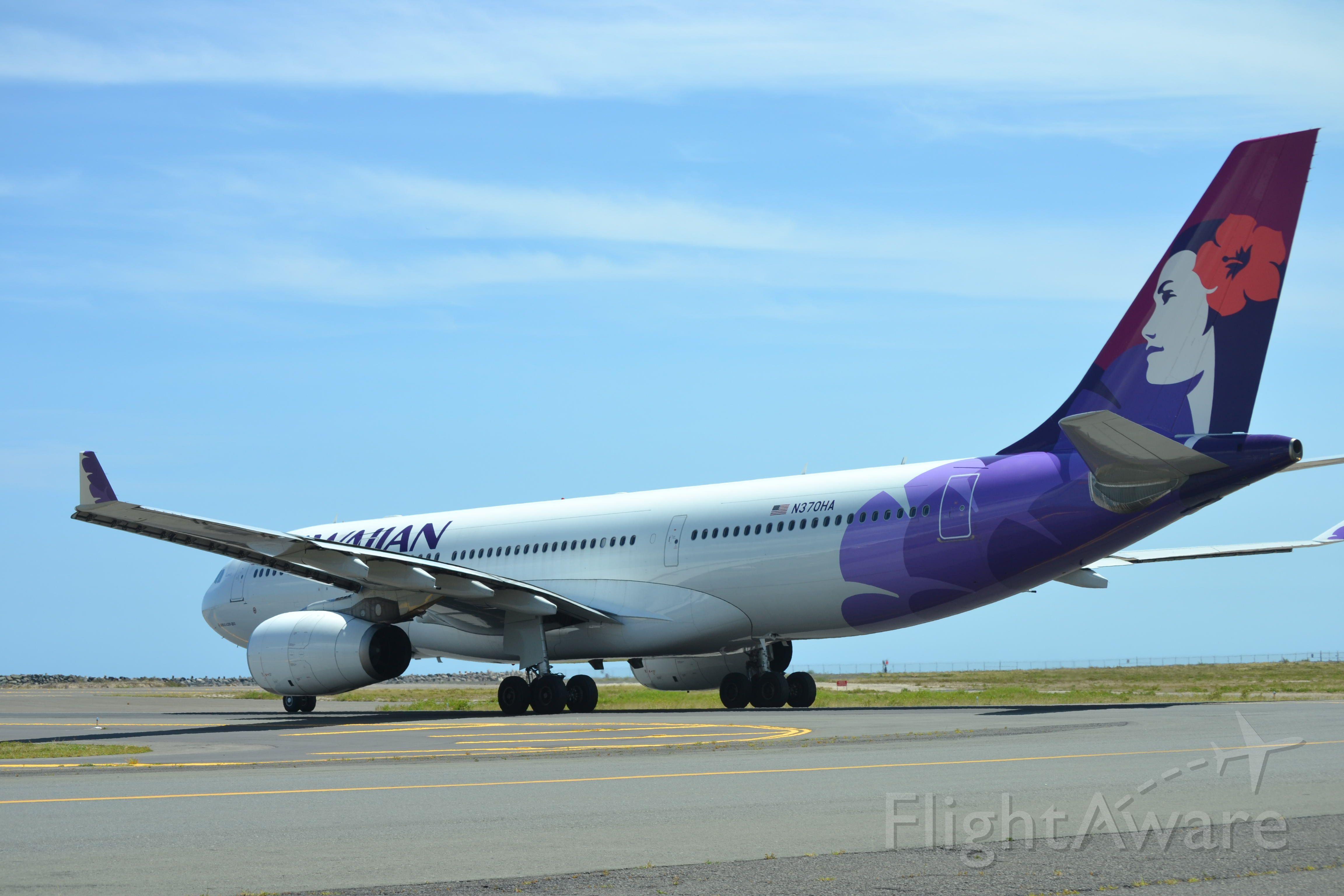 Airbus A330-200 (N370HA) - A Hawaiian Airbus A330-200 heading out to reef runway at Honolulu International Airport.