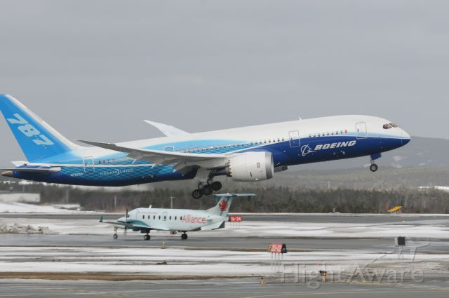 N787BA — - Dreamliner on go from touch and go on runway 16 St. John