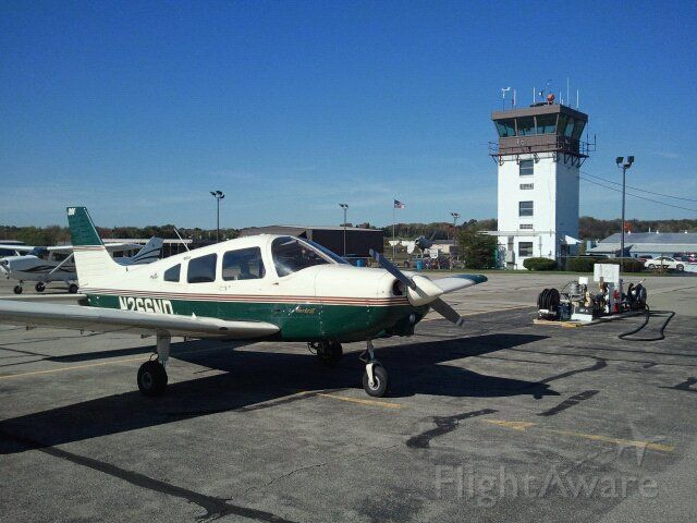Piper Cherokee (N266ND) - Warrior 266ND with KBVI control tower.