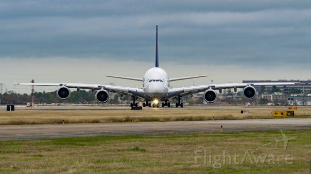 Airbus A380-800 (D-AIMK) - Lufthansa A380-800 entering runway 33L KIAH for departure
