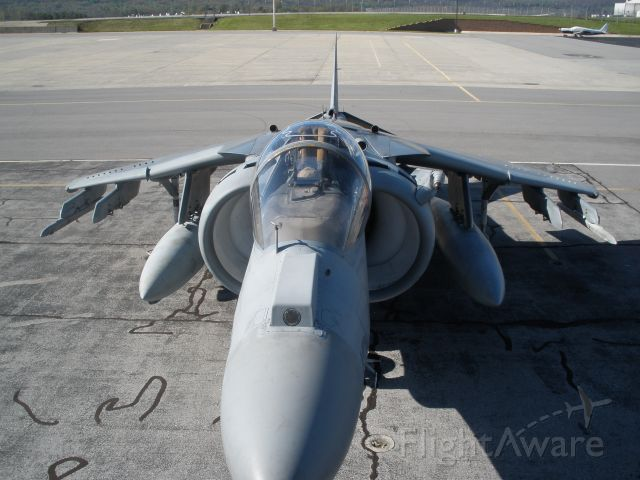 — — - U.S.Marines AV-8B Harrier.I took this shot from the top of a fuel truck.Looks a lot different from up top.