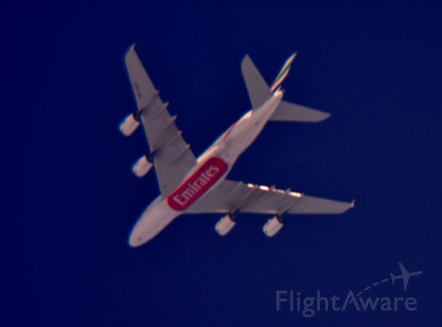 Airbus A380-800 (A6-EOF) - Emirates 222 Dallas/Fort Worth Intl to Dallas/Fort Worth Intl over Cleveland 35,000 ft. 07.15.15.