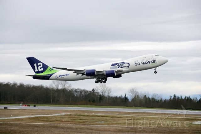 BOEING 747-8 (N770BA) - Take off from Snohomish County Airport (KPAE) 1/31/2014
