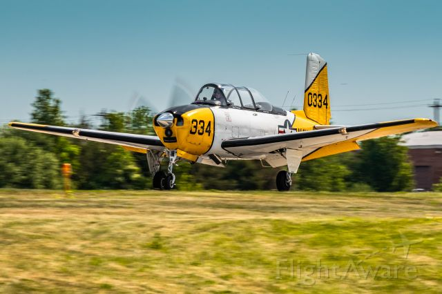 Beechcraft Mentor (N3VY) - Beech T-34 N3VY landing at Heritage Field (KPTW) for an Antique Fly-In 5/22/21