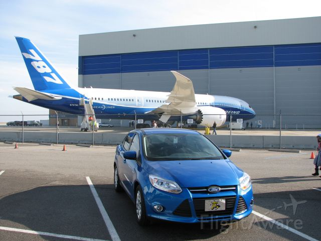 Boeing 787-8 (N787BX) - This is the Dreamliner Tour provided by Boeing in January 2012 in Wichita, KS by Spirit AeroSystems.  This is my car, which just happens to park in the right spot!