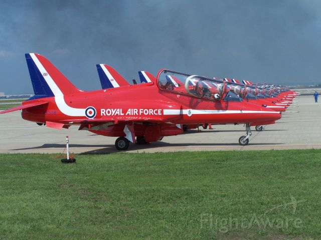 Boeing Goshawk (XX308) - XX308 heads this line of Red Arrows jets as they prepare to start their display at the Rhode Island ANG Air Show July 2008. Sadly the pilot and this aircraft were lost in an accident during a display in Bournemouth, England in August 2011