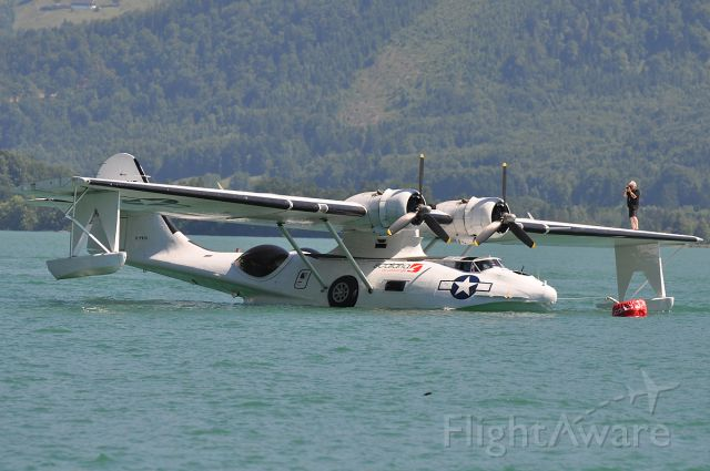 Canadair CL-1 Catalina (G-PBYA) - The Cat at Wolfgangsee, Scalaria Air Challenge 2010. Note the spotter on the wing ... ;-)