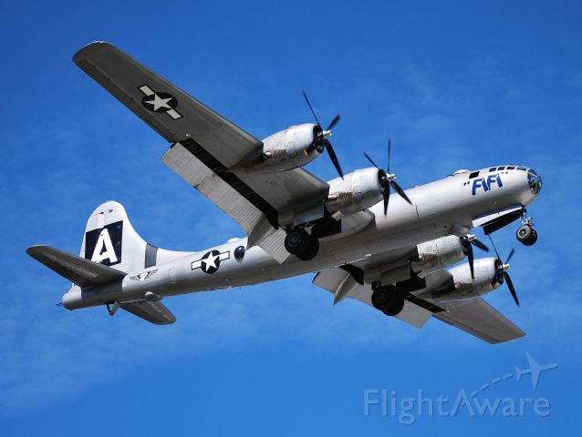 Boeing B-29 Superfortress (N529B) - AMERICAN AIRPOWER HERITAGE FLY MUSEUM on final for runway 2 at KJQF, full flaps - 2/25/13