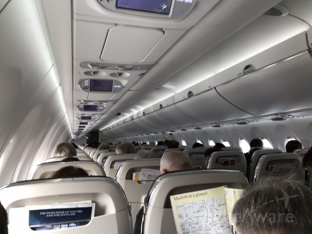 Airbus A220-300 (HB-JCE) - Very comfortable cabin, I could get out of my window seat without asking my wife to leave her aisle seat.