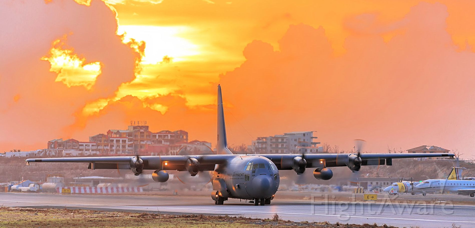 Lockheed C-130 Hercules (G275) - Dutch C130 lanindg at TNCM at sunset St Maarten