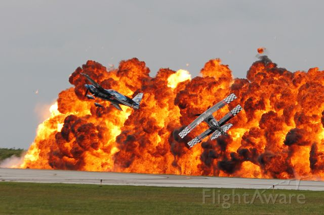 PITTS Special (S-2) (N540S) - Skip Stewart in his Pitts S2S (N540S, cn 9) and Melissa Pemberton in her Zivko Edge 540 (N540SG, cn 035) performing their TinStix Wall of Flame act during the 2014 Cleveland National Air Show.
