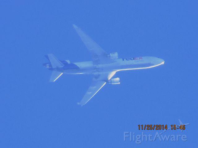 Boeing MD-11 (N573FE) - FedEx flight 568 from MEM to SEA over Southeastern Kansas at 36,000 feet.