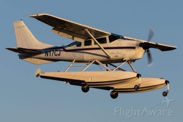 N17CJ — - Cessna 206 on floats landing at Purdue. Didn't expect to see this one!