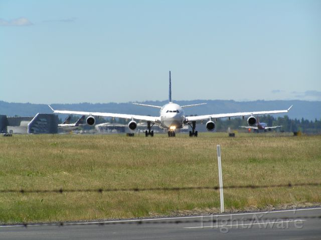 Airbus A340-300 (D-AJGJ) - Hot summer afternoon in PDX, 2008-06-14, around 2PM