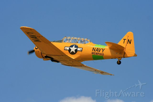 N66WP — - T6 in flight over Tennessee. Notice the photographer in the rear seat. Aircraft built in 1951.