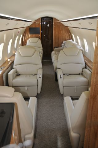 """Bombardier Challenger 300 (N539XJ) - Aircraft only 8 weeks old, as of this photo.  Departing KFDK on 3/24/2009.  Thanks to the pilot who allowed me a moment to view the interior.      <a href=""""http://discussions.flightaware.com/profile.php?mode=viewprofile&u=269247"""">  Profile</a>"""