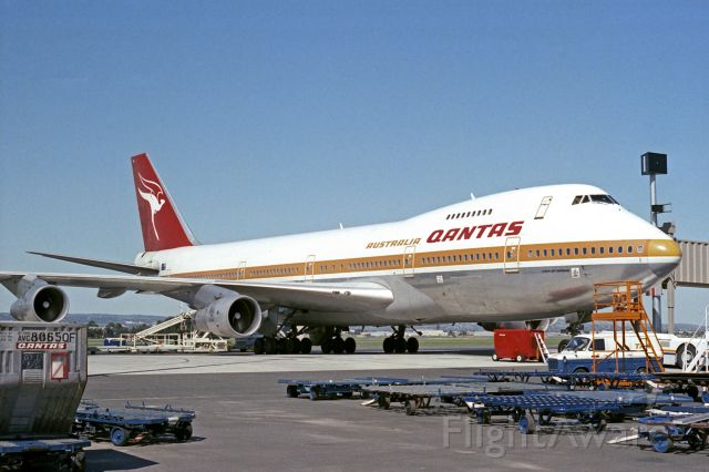 Boeing 747-200 (VH-EBP) - Adelaide, South Australia April 17, 1983 - back when photos such as this were possible.