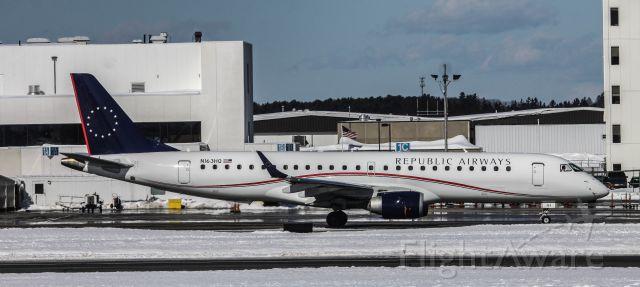 Embraer ERJ-190 (N163HQ) - Spotting area at Portland Jetport KPWM..