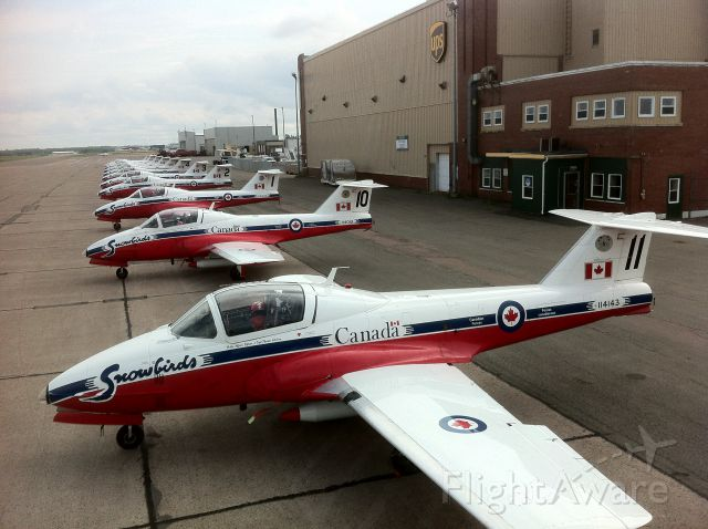 Canadair CL-41 Tutor (11-4143) - Snowbirds Fleet siting on the ramp in Moncton after a surprise visit due to poor weather in Yarmouth