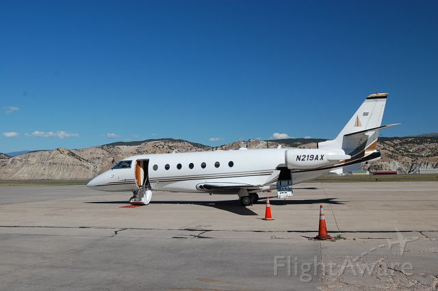 IAI Gulfstream G200 (N219AX) - On the ramp at AKA the fish bowl