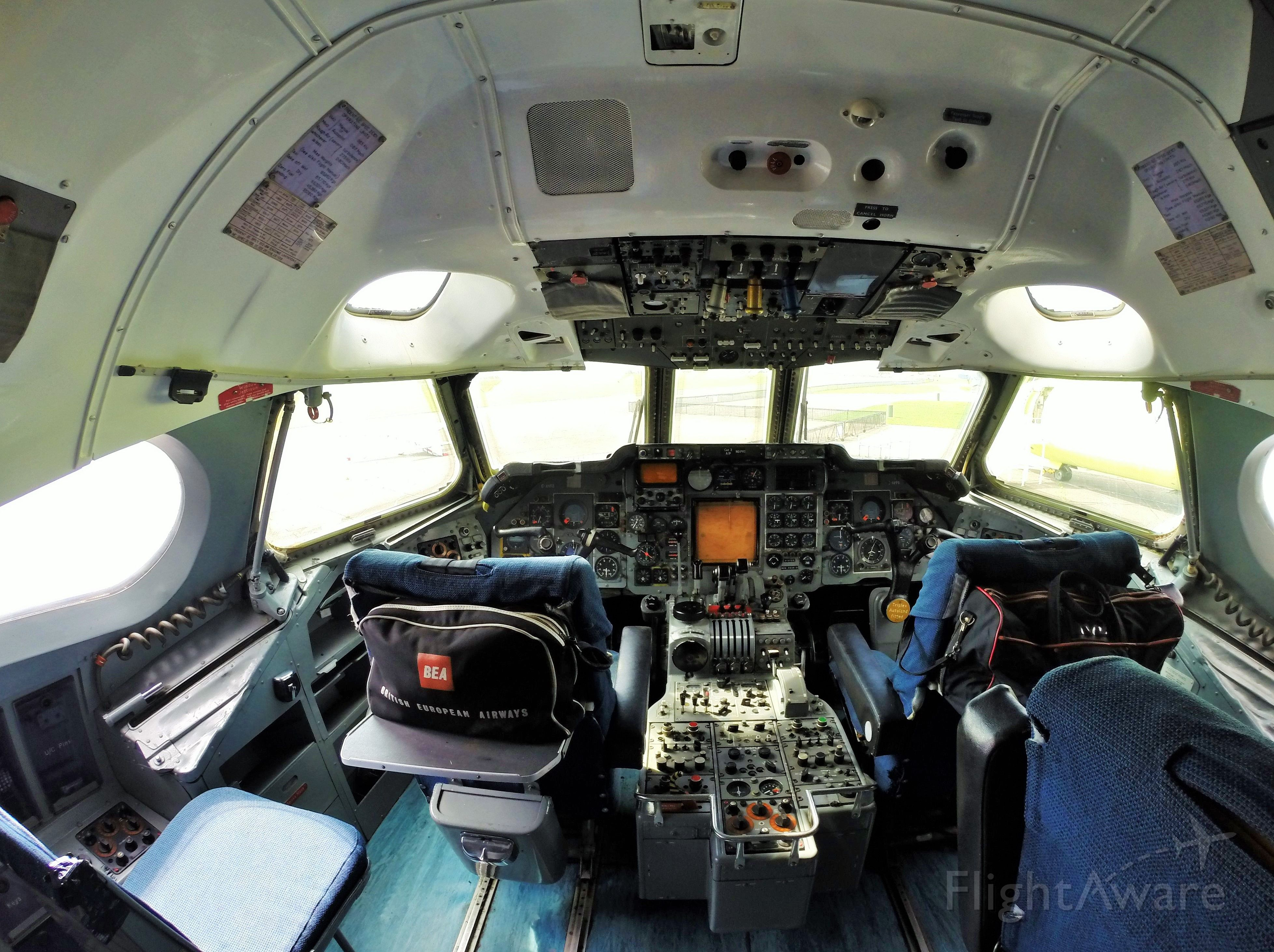G-AVFB — - BEA Trident Two flight deck at Duxford.