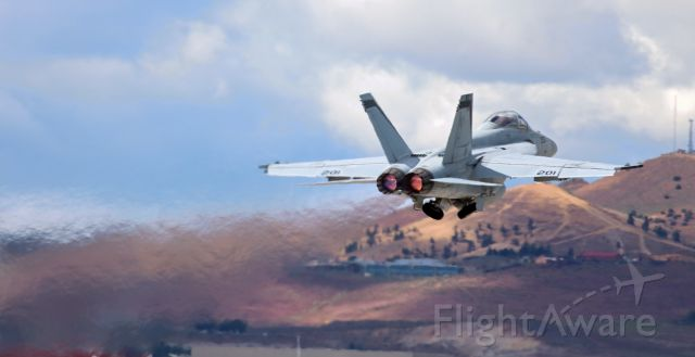 """McDonnell Douglas FA-18 Hornet (16-8928) - Caught the gear in transit to the wells in this shot of a VFA 94 """"Mighty Shrikes"""" Super Bug on a sunset hour a/burner departure from Reno Tahoe International's 34R.<br />CDR Matt """"Lick"""" Morgan was up front and CDR Nick """"Kooter"""" Smetana was in the back seat.<br /><br />***  ADDED (7/11/2019) >>  This was NOT an afterburner departure.  To learn why my info (above) is incorrect, scroll down to read the Comment by Skylab72. ***"""