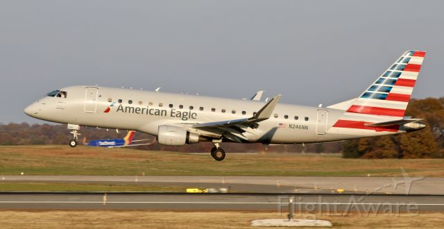 Embraer 175 (N246NN) - Oddly enough E175s and E170s are quite rare here at BWI, but I was lucky to catch it. Inbound from KORD.