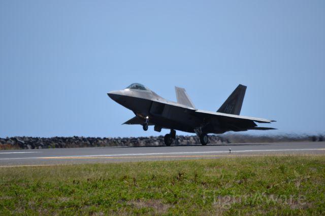 Lockheed F-22 Raptor — - An F-22 taking off from Honolulu on reef runway.