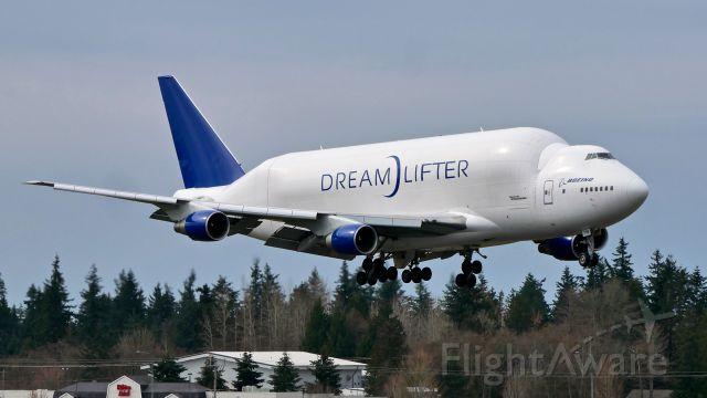 Boeing Dreamlifter (N718BA) - GTI4136 from NGO / RJGG on final to Rwy 34L on 3.25.19. (B747-4H6(BLCF) / ln 932 / cn 27042).
