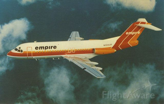 Fokker Fellowship (N108UR) - scanned from postcard<br />empire airlines